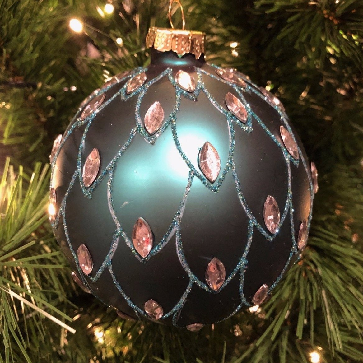 Turquoise Jewelled Ornament, 10cm - My Christmas