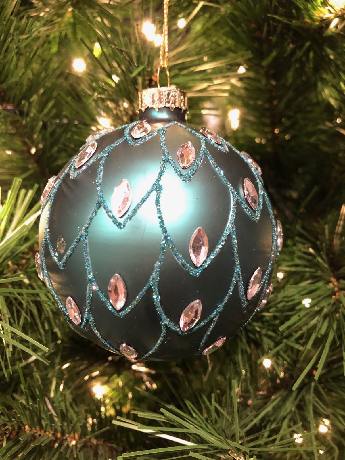 Turquoise Jewelled Ornament - My Christmas