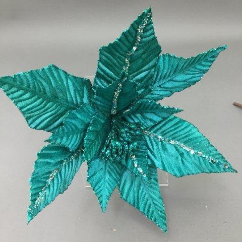 Turquoise Poinsettia Pick - My Christmas