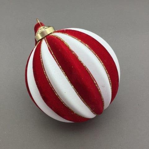 Velour Red and White Ball - My Christmas