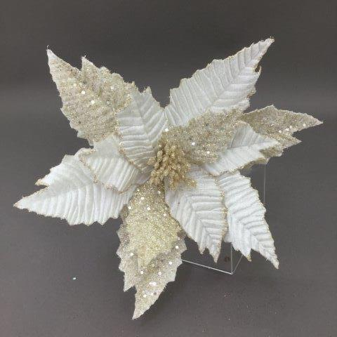 White and Champagne Glitter Poinsettia Pick - My Christmas