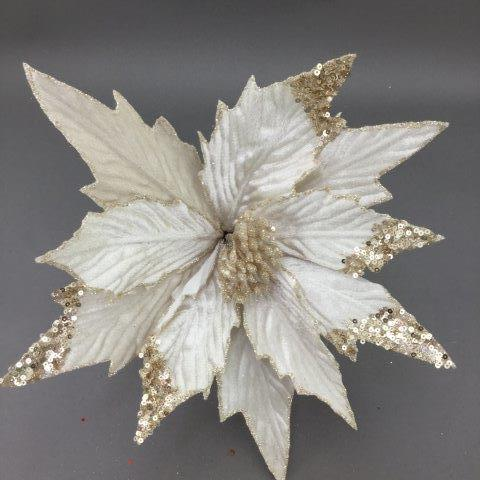 White and Champagne Poinsettia Pick - My Christmas