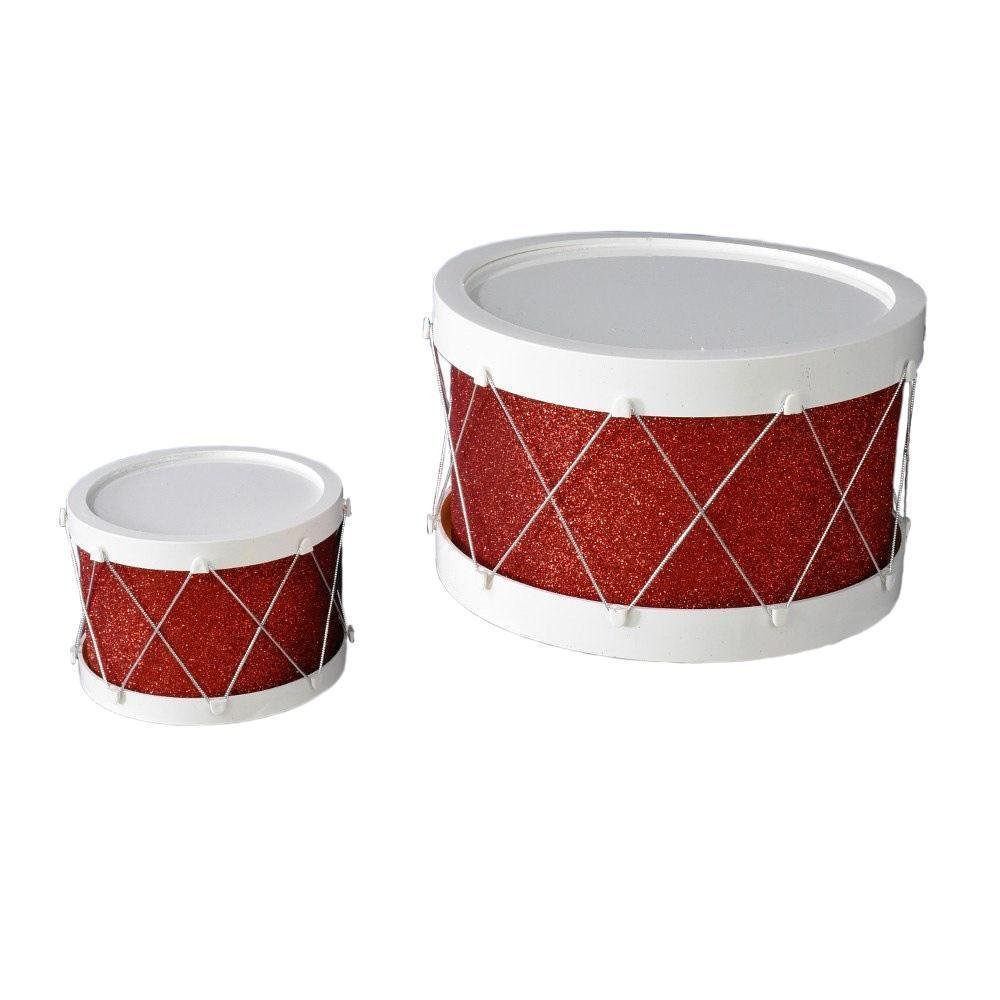 White And Red Glitter Drum Set - My Christmas