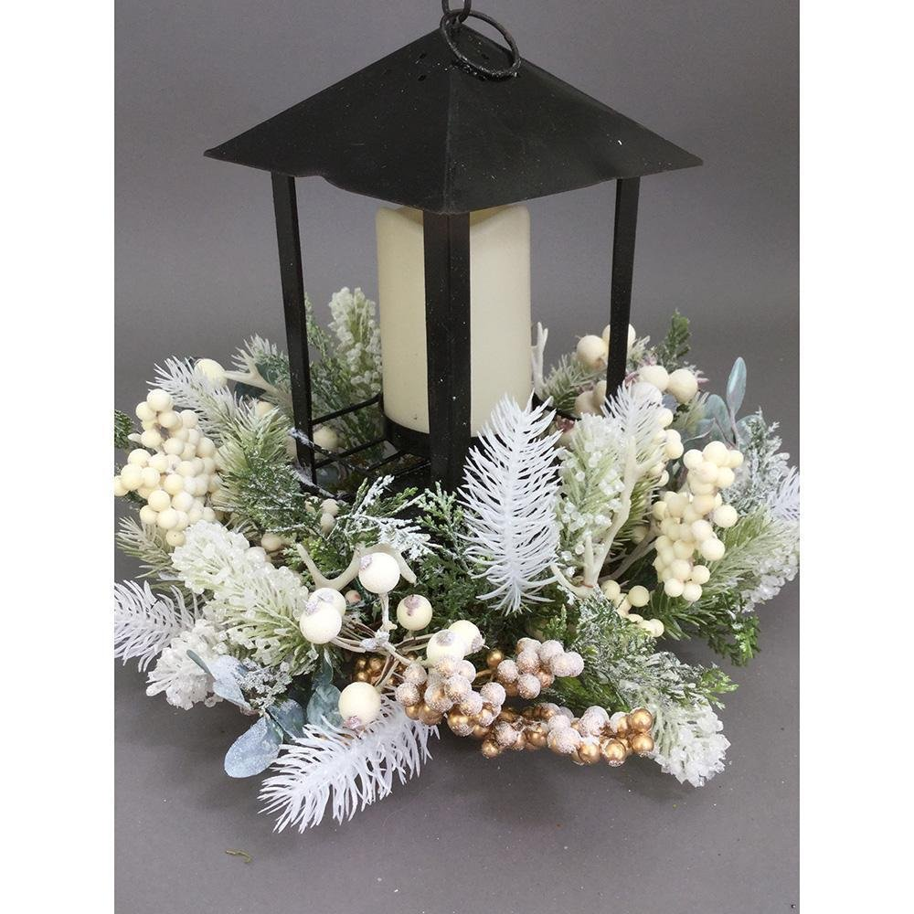 White Berry Ball Lantern Centrepiece - My Christmas