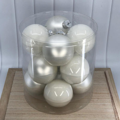 White Glass Baubles, Various Sizes - My Christmas
