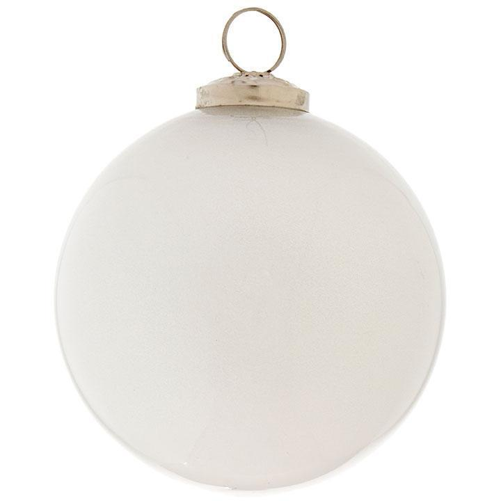 White Glitter Bauble Ornament, 9.5cm - My Christmas