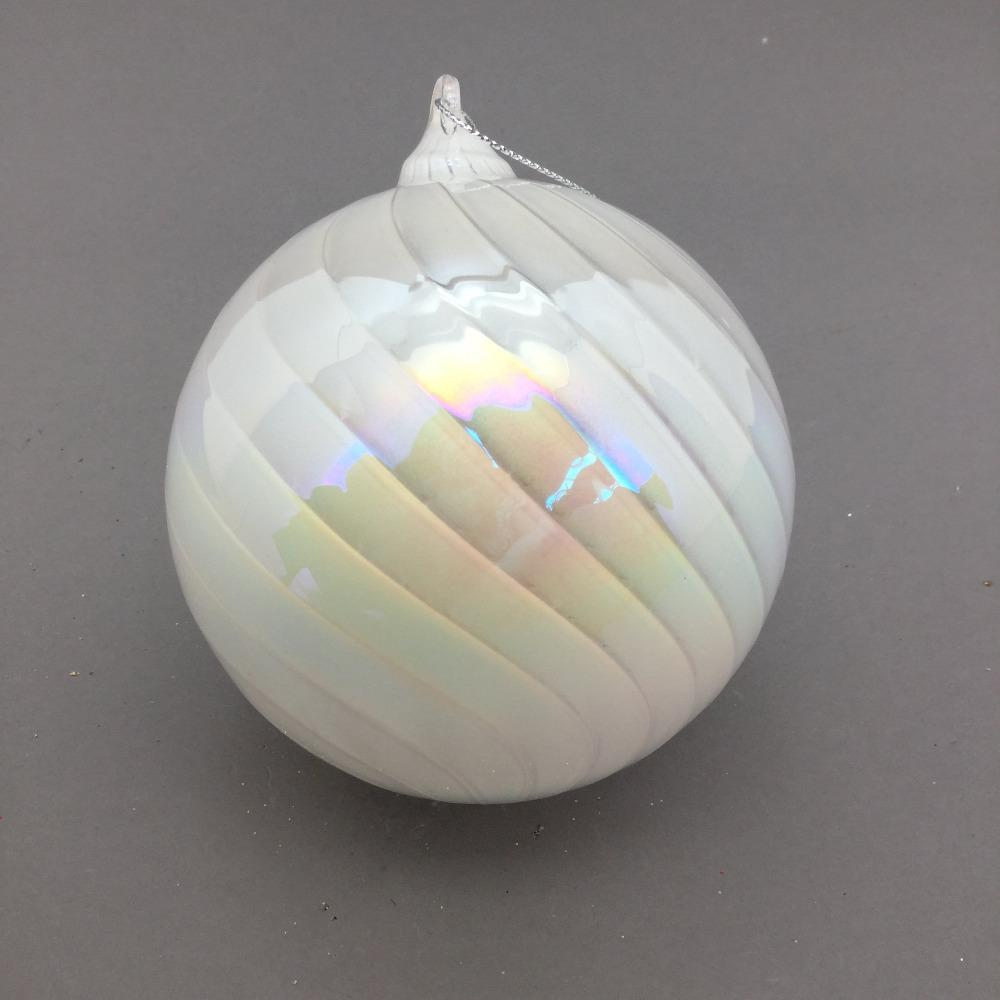 White Iridescent Bauble, 10cm - My Christmas