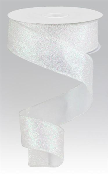 White Iridescent Glitter Ribbon - My Christmas