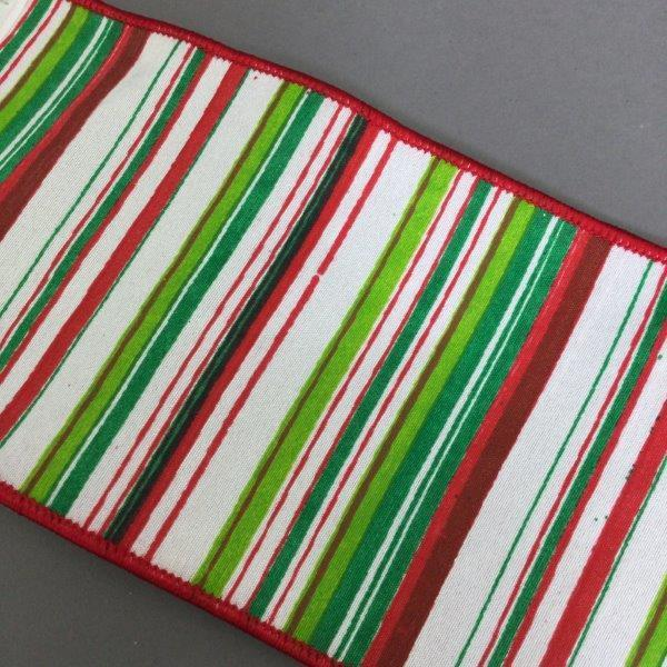 White Red Green Striped Ribbon - My Christmas