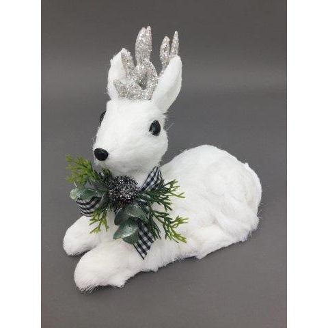White Sitting Deer, 21cm - My Christmas