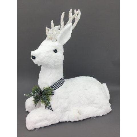 White Sitting Deer, 68cm - My Christmas