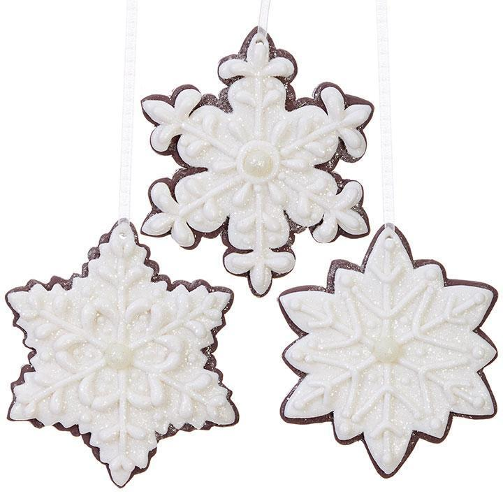 White Snowy Gingerbread Snowflake Ornament - My Christmas