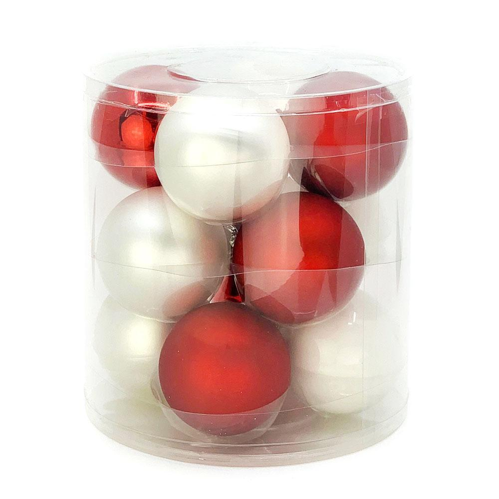 White/Red Glass Baubles, Various Sizes - My Christmas