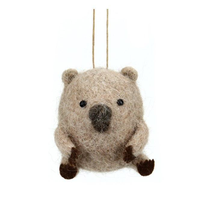 Wool Hanging Wombat - My Christmas