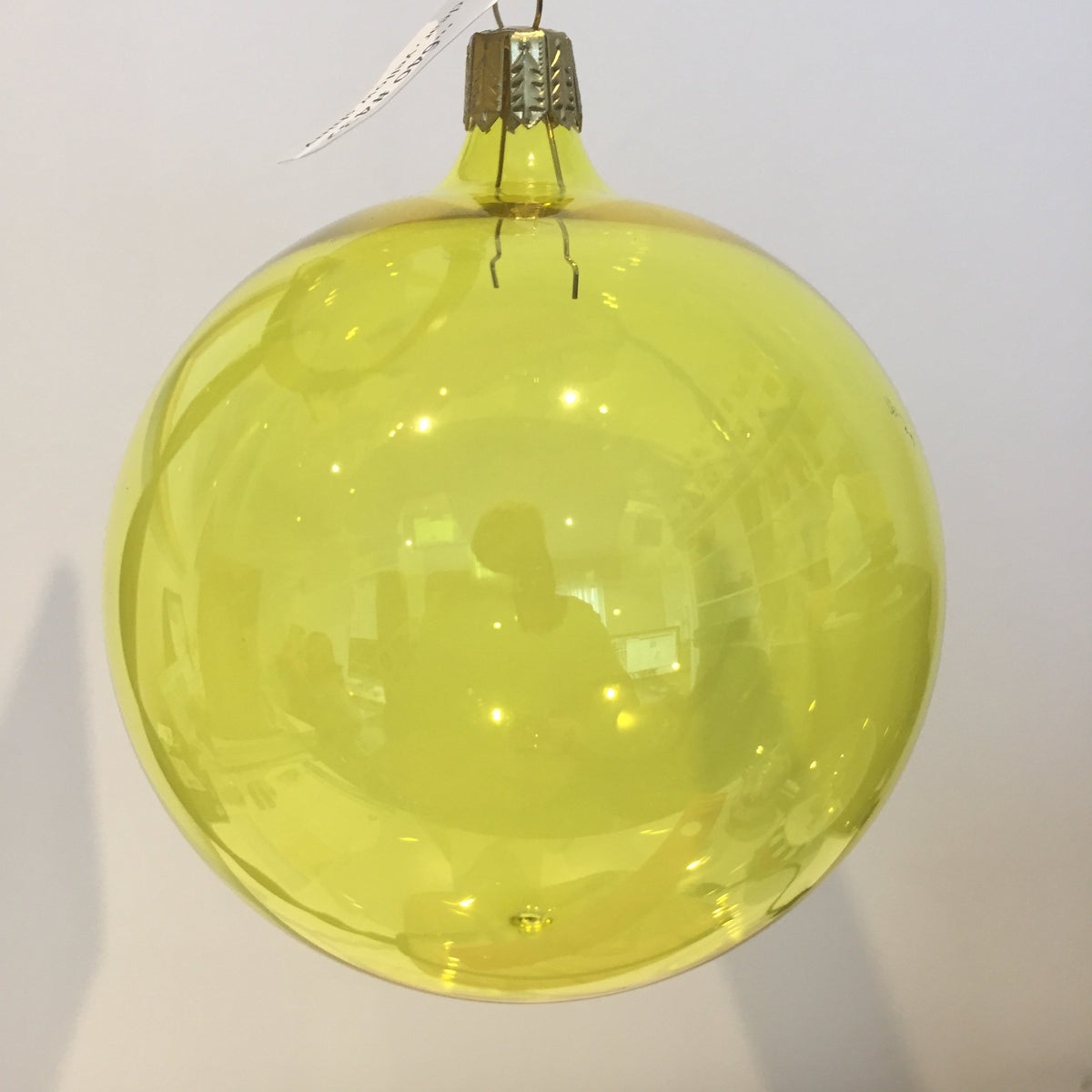 Yellow Shiny Clear Bauble, 9cm. - My Christmas