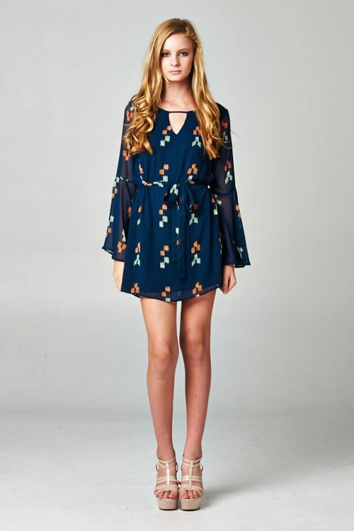 Navy Blue Bell Sleeve Dress