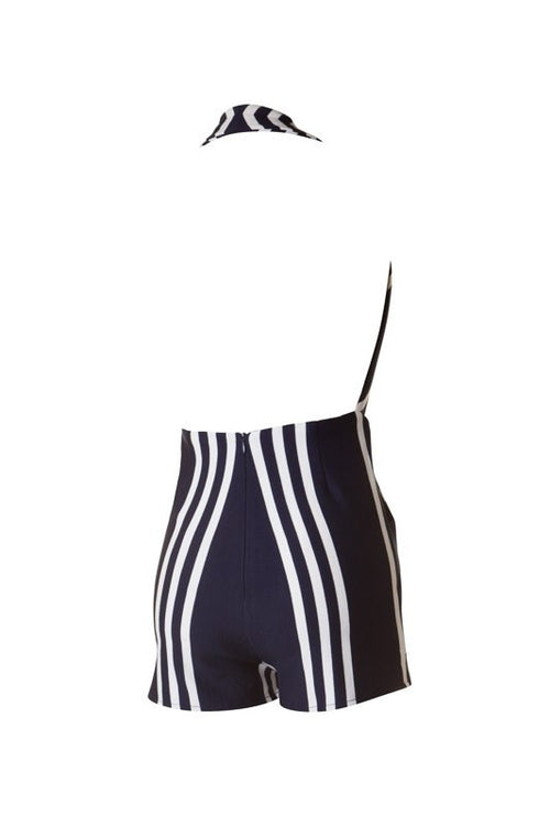 Navy and White Stripe Romper