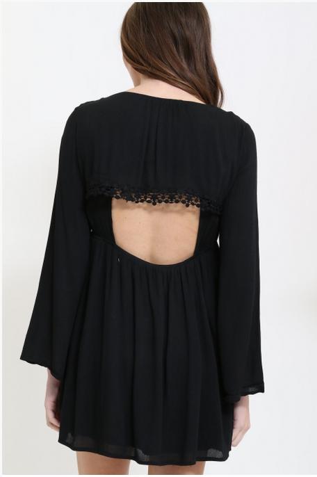 Backless Long Sleeve Dress