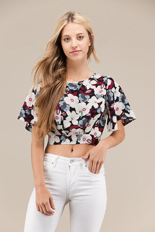 White and Blue Floral Crop Top