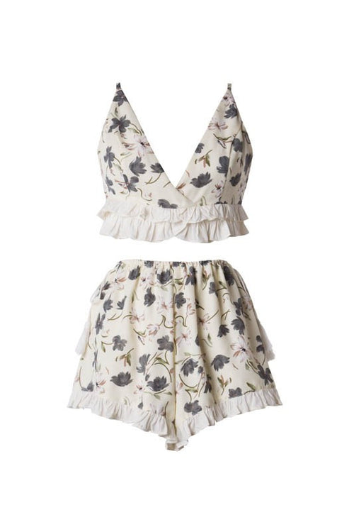 White Floral Crop Top Set