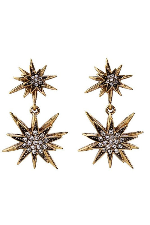 Gold Star Gazer Drop Earrings