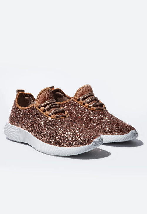 Rose Gold Glitter Sneakers