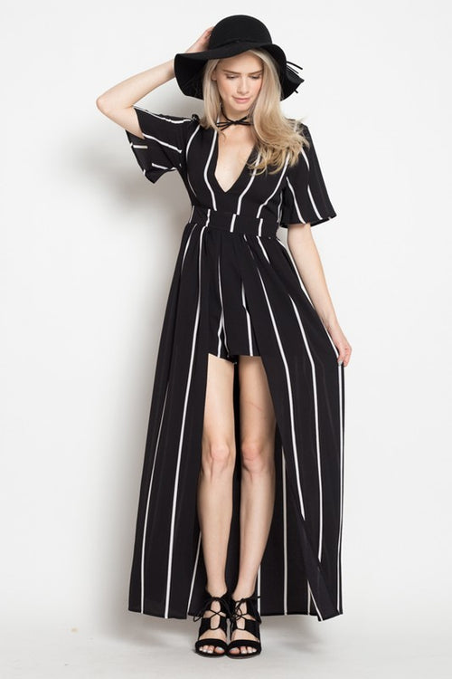 Black and White Stripe Maxi Romper