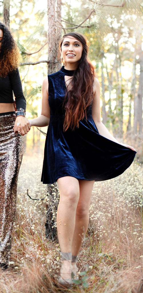 Blue Velvet Open Back Dress