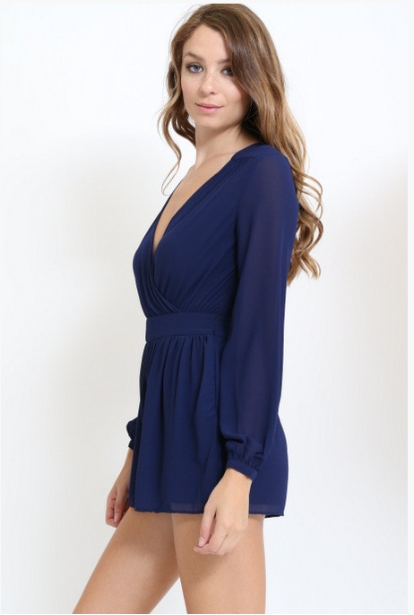 Navy Long Sleeve Romper