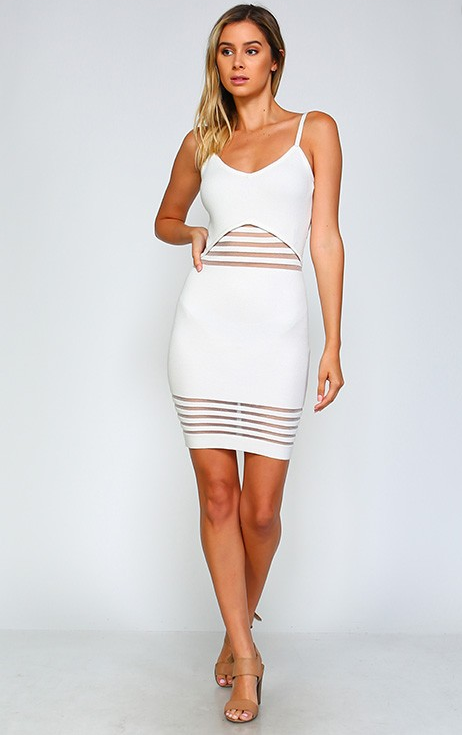 Star White Knit Bodycon Dress