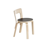 Aalto Children's Chair N65 -  Black Linoleum Seat with Lacquered Birch Frame