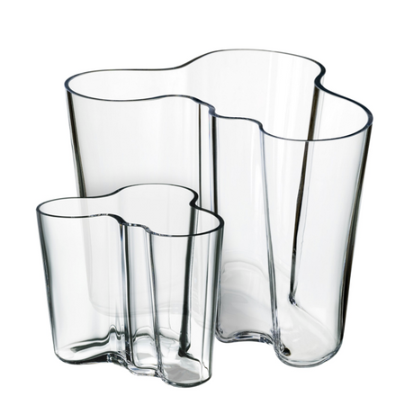 "Aalto Vase Set of 2 - 6.25"" & 3.75"" Clear"