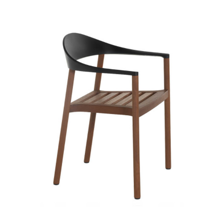 Monza Armchair - Black Backrest and Iroko Wood Frame