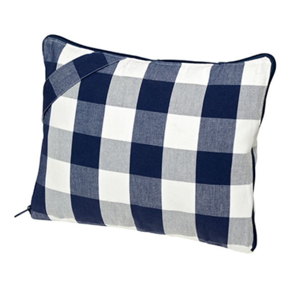 Travel Pillow Blue Check