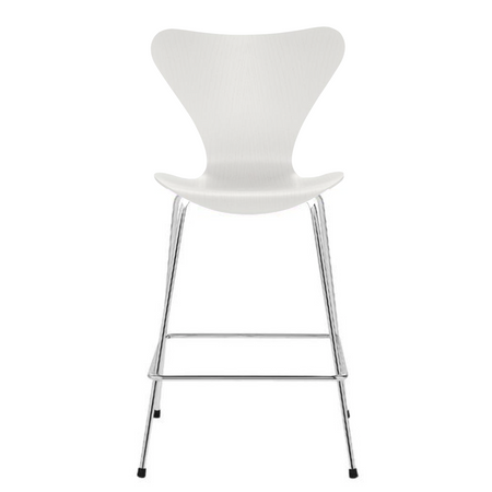 "3187 Counter Stool 25.2"" Coloured Ash 105 White, Chrome Base"