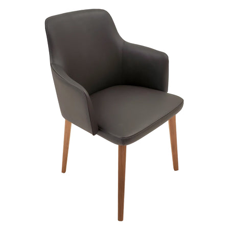 Back Me Up Armchair - Leather Udine Anthracite with Solid Walnut Legs