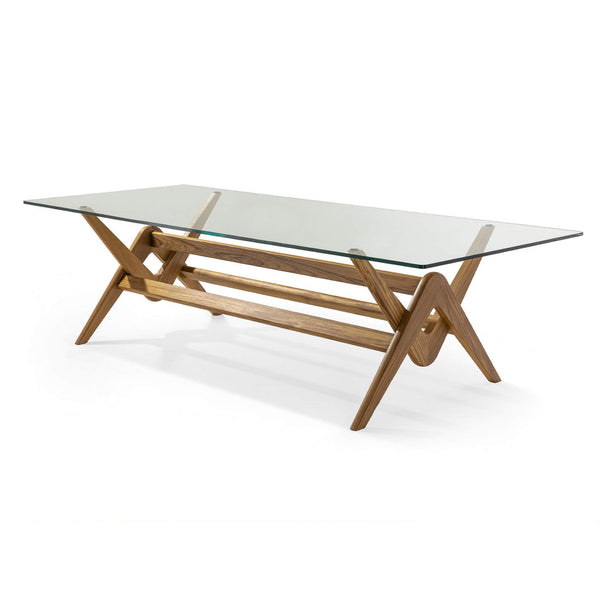 Capitol Complex Table - Glass Top with Natural Teak Base