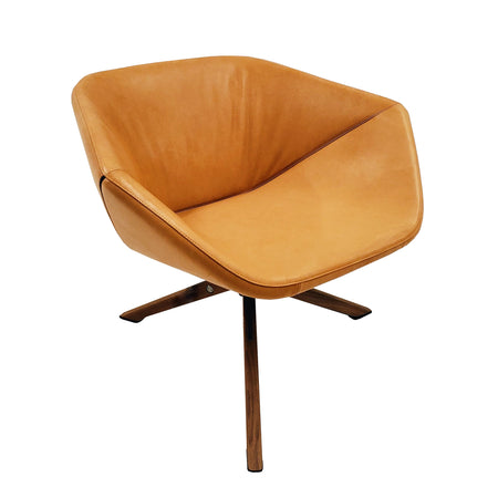 Ella Easy Chair with Swivel Base - Leather Natural with 3 Point Walnut Base