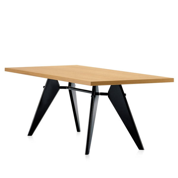 EM Table - Natural Solid Oak Oiled Top with Deep Black Base