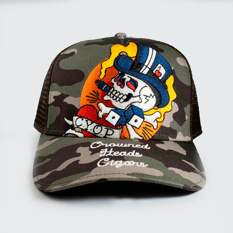 CYOP Smokin' Skull Trucker Hat