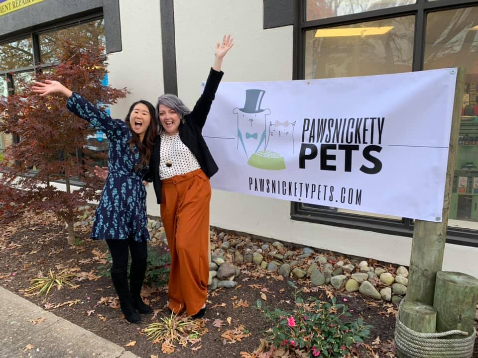 Pawsnickety Pets Co-Owners Shizuka Benton and Kaycee McCoy at their Ribbon Cutting
