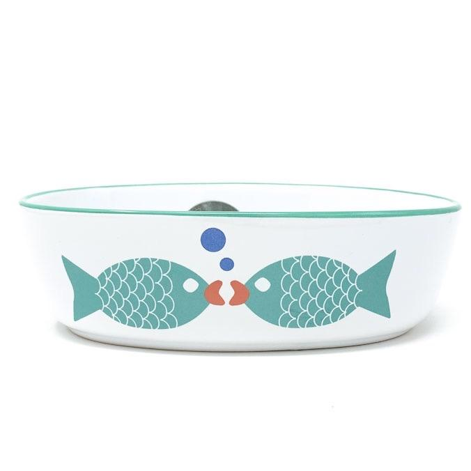 "Petrageous Bubble Fish 5"" Oval, White/Turquoise Shimmer Cat Food Bowl"