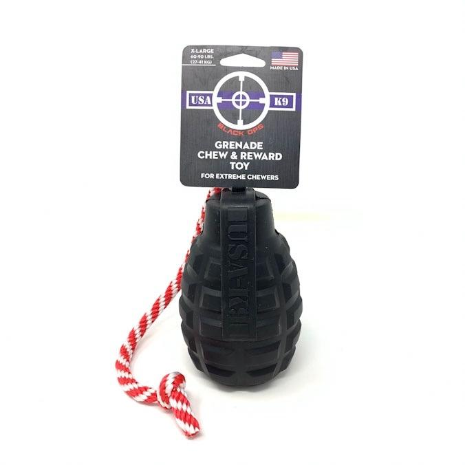 USA-K9 Grenade Rubber Chew Toy, Treat Dispenser, Reward Toy, and Tug Toy for Extreme Chewers- BLACK