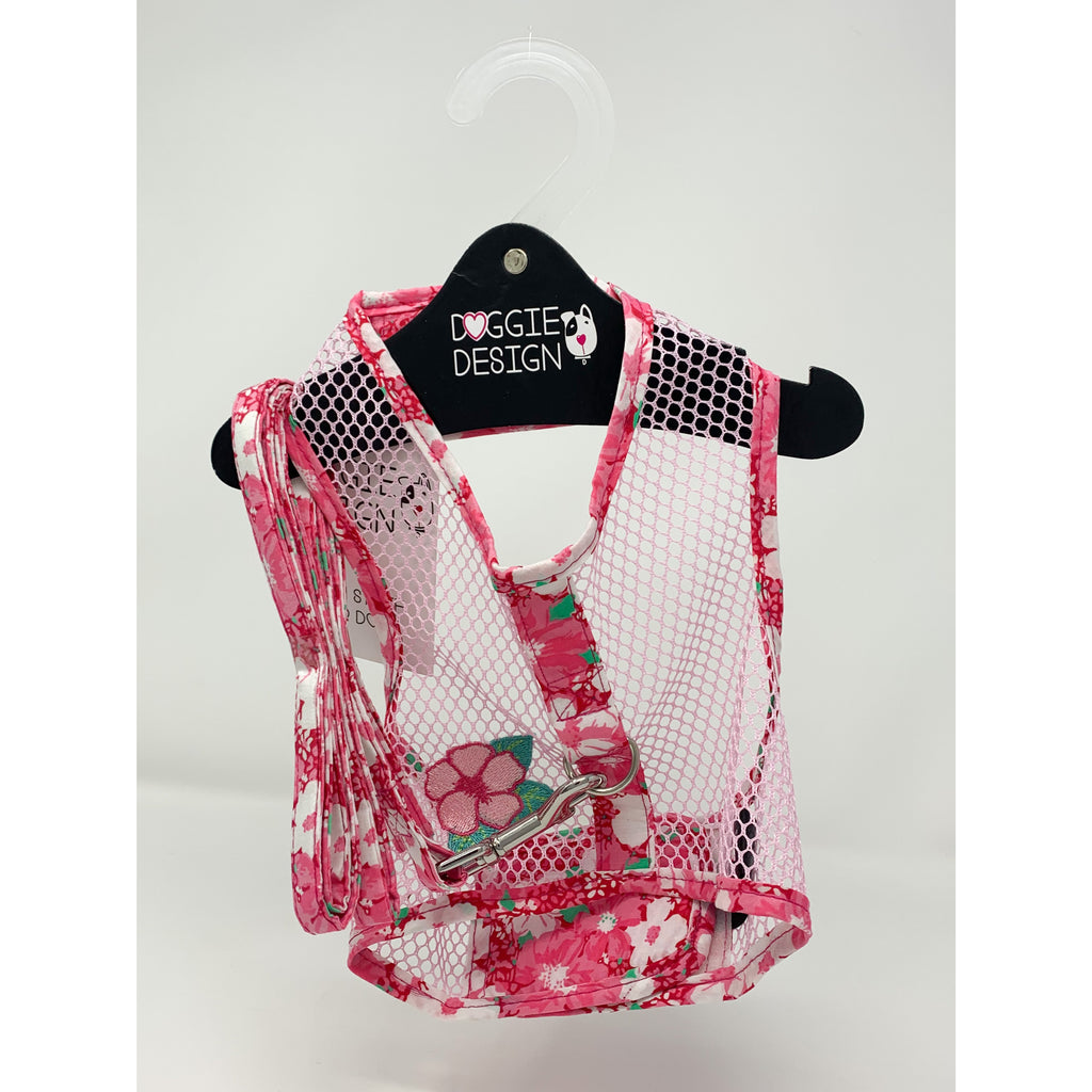 Doggie Design Pink Hawaiian Hibiscus Cool Mesh Harness with Leash