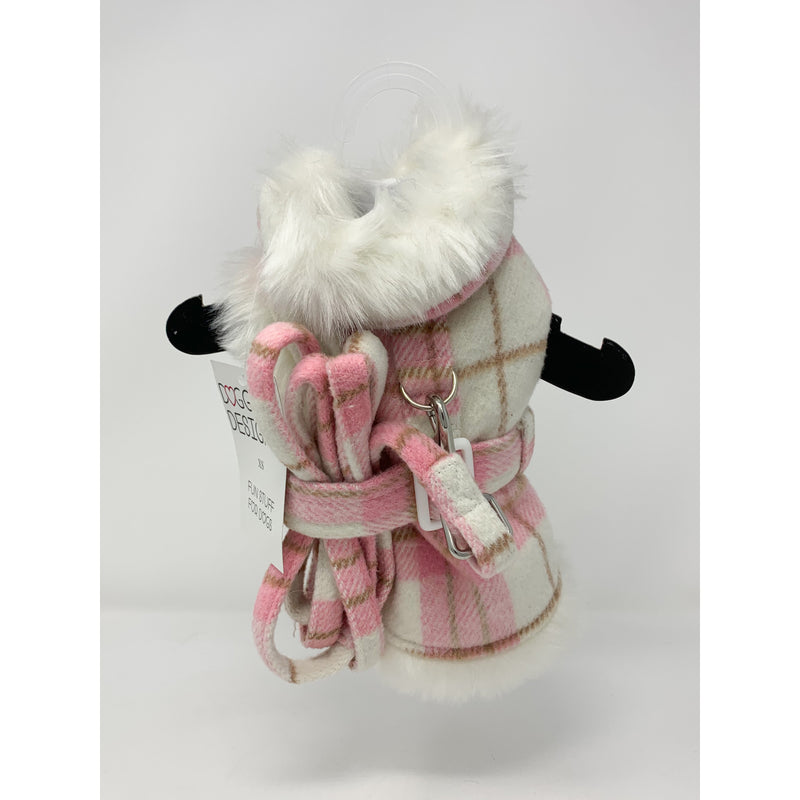 Doggie Design Pink & White Plaid Coat with Matching Leash