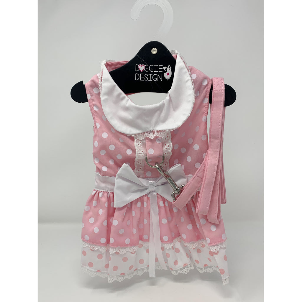 Doggie Design Pink Polka Dot and Lace Dog Dress Set with Leash