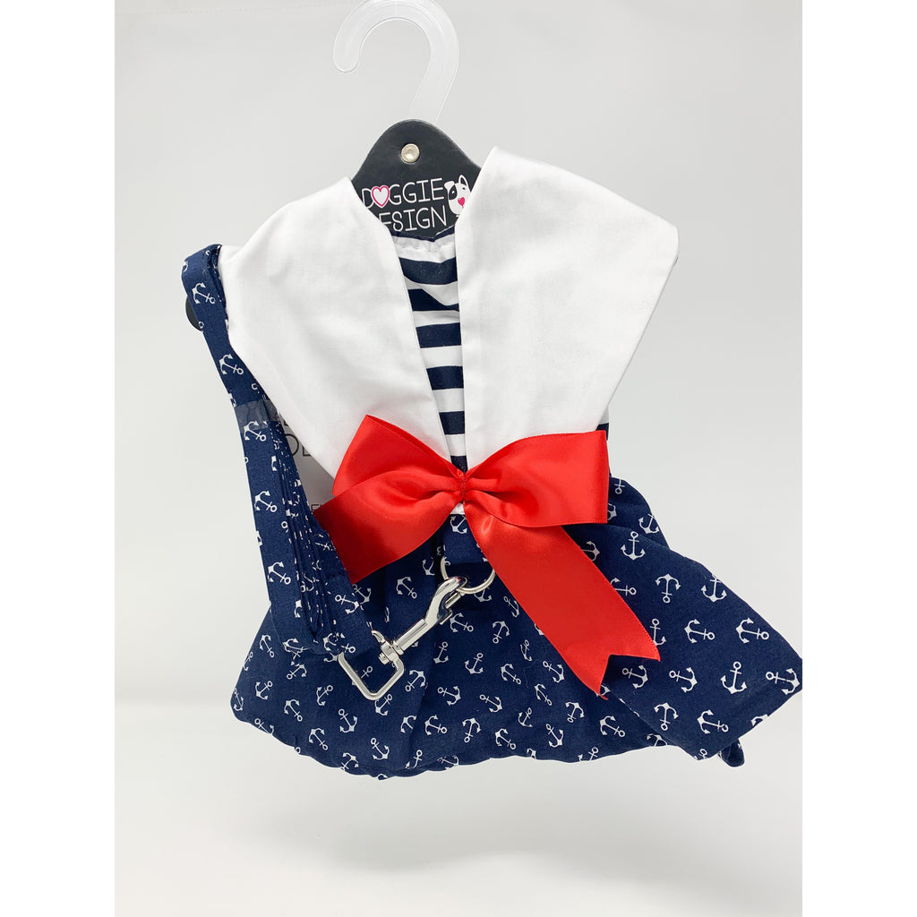 Doggie Design Nautical Dog Dress with Matching Leash