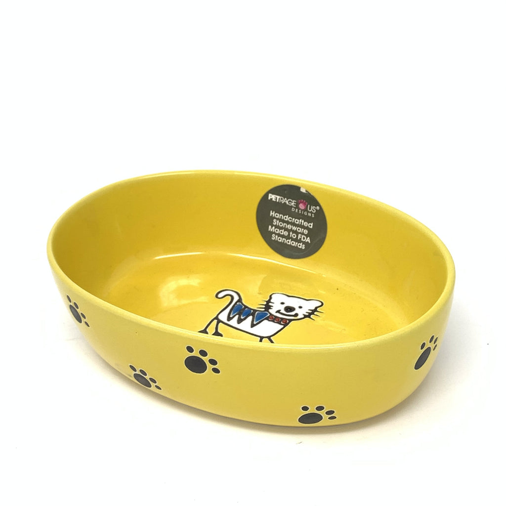 "Petrageous Silly Kitty 6.5"" Oval Yellow Cat Food Bowl"
