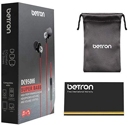 Betron DC950HI Earphone Micrphone Remote Control Powerful Bass Noise Isolating Replaceable Earbuds