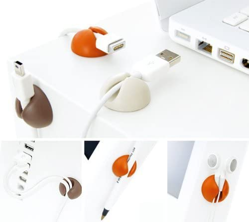 Betron 6 x Multipurpose Silicon Cable Holder Clips Cord Tidy Organisers Charging Cable Management
